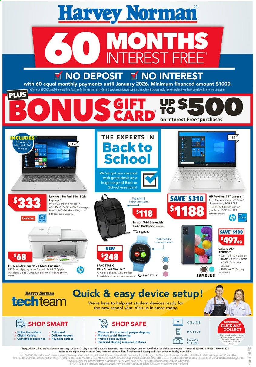 Harvey Norman Catalogue - 17.1.2021 - 22.1.2021 - Sales products - Lenovo, HP, Samsung Galaxy, battery, Samsung, phone, cellphone, smart watch, laptop, Intel, camera, all-in-one, pavilion, backpack. Page 1.