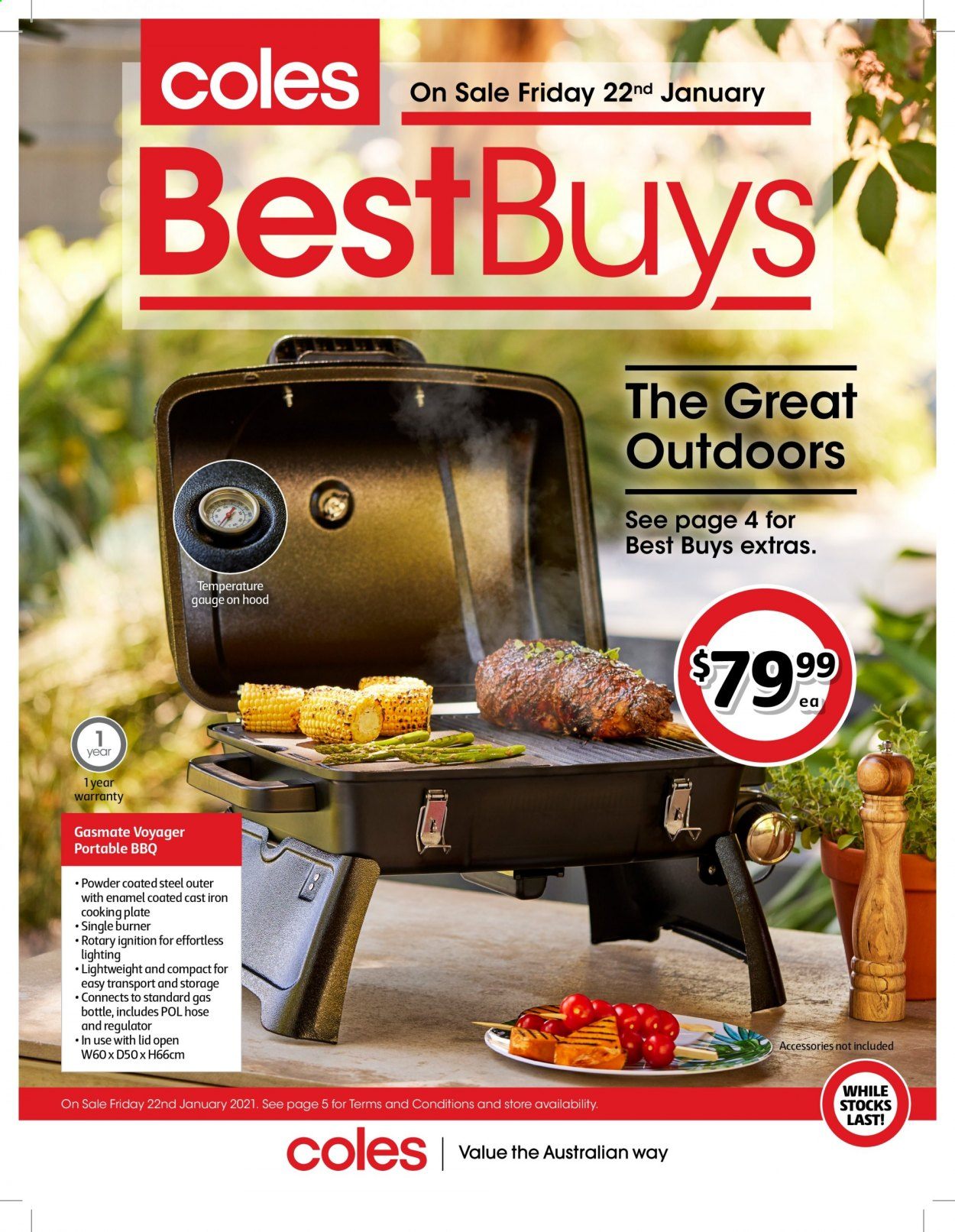 Coles Catalogue - 22.1.2021 - 4.2.2021 - Sales products - plate, gas bottle. Page 1.