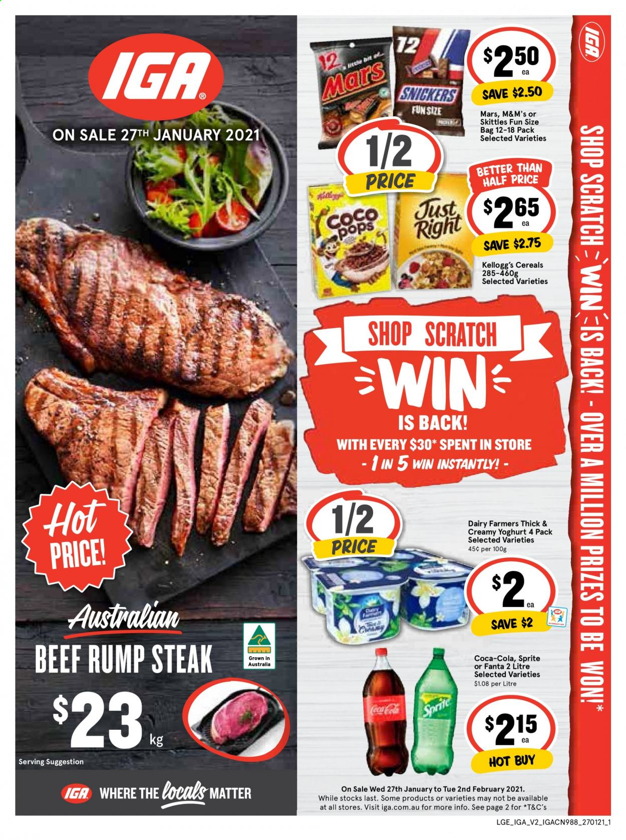 IGA Catalogue - 27.1.2021 - 2.2.2021 - Sales products - yoghurt, Snickers, Mars, M&M's, cereals, Coca-Cola, Sprite, Fanta, beef meat, steak, bag. Page 1.