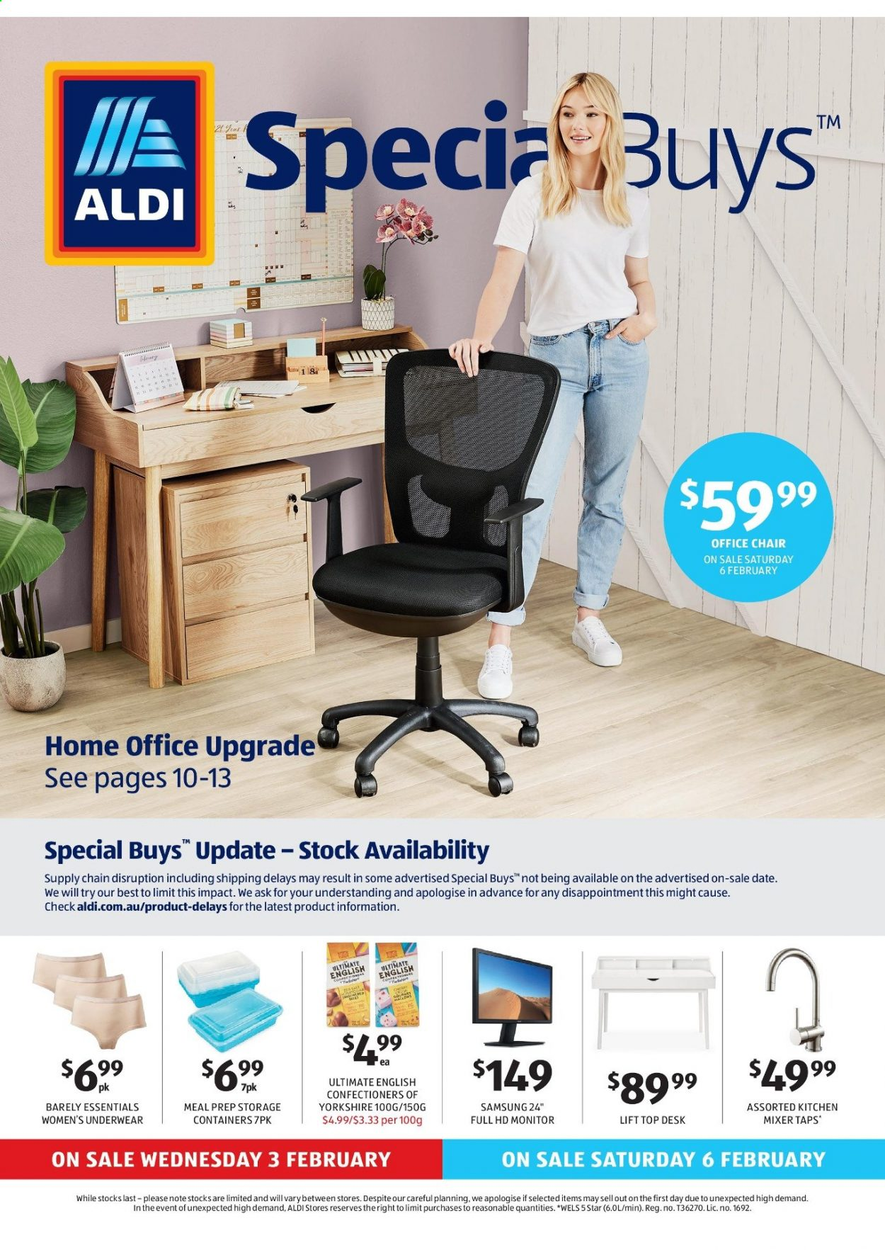 ALDI Catalogue - 3.2.2021 - 9.2.2021 - Sales products - Samsung, mixer, underwear, office chair, Full HD monitor. Page 1.