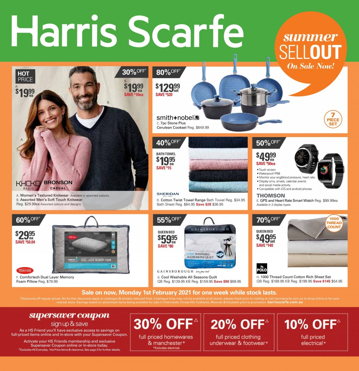 Harris Scarfe Catalogue - Sales products - calendar, sheet, pillow, quilt, foam pillow, bath sheet, bath towel, towel, smart watch, bed. Page 1.