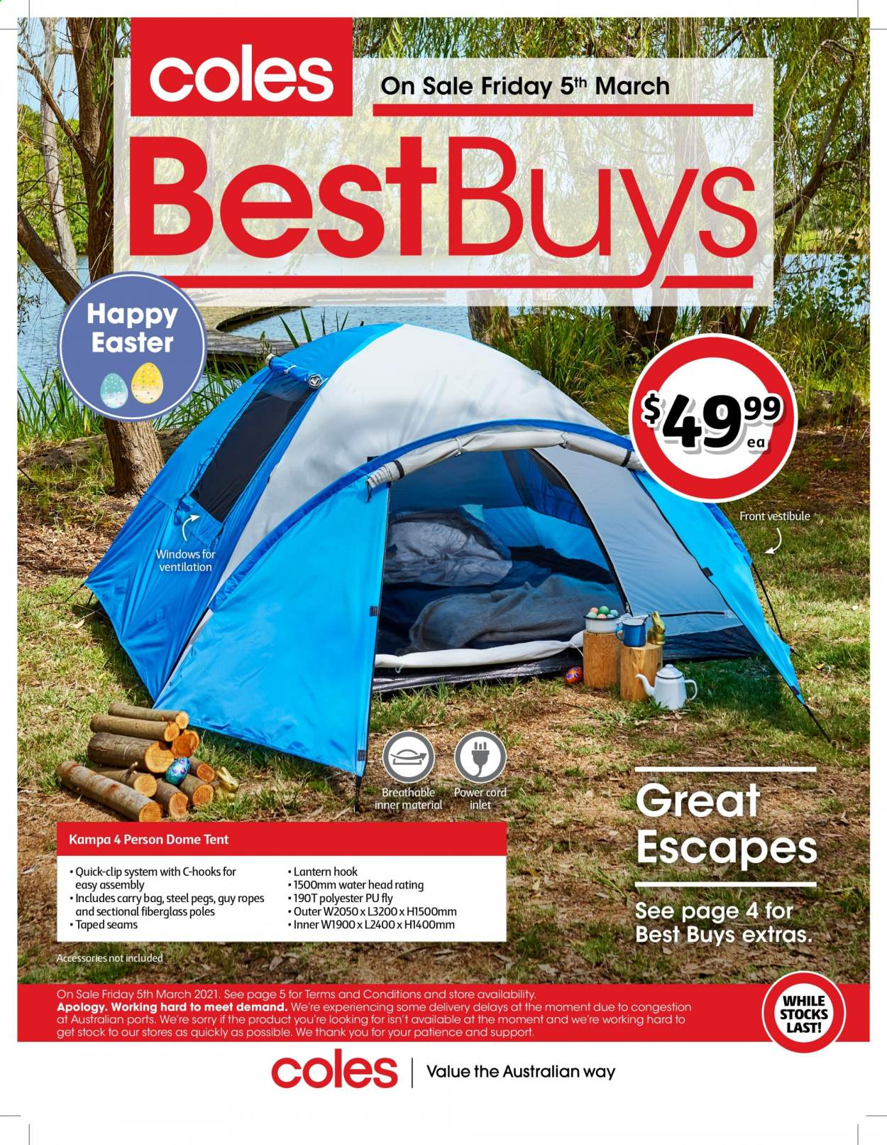 Coles Catalogue - 5.3.2021 - 18.3.2021 - Sales products - hook, lantern, carry bag. Page 1.