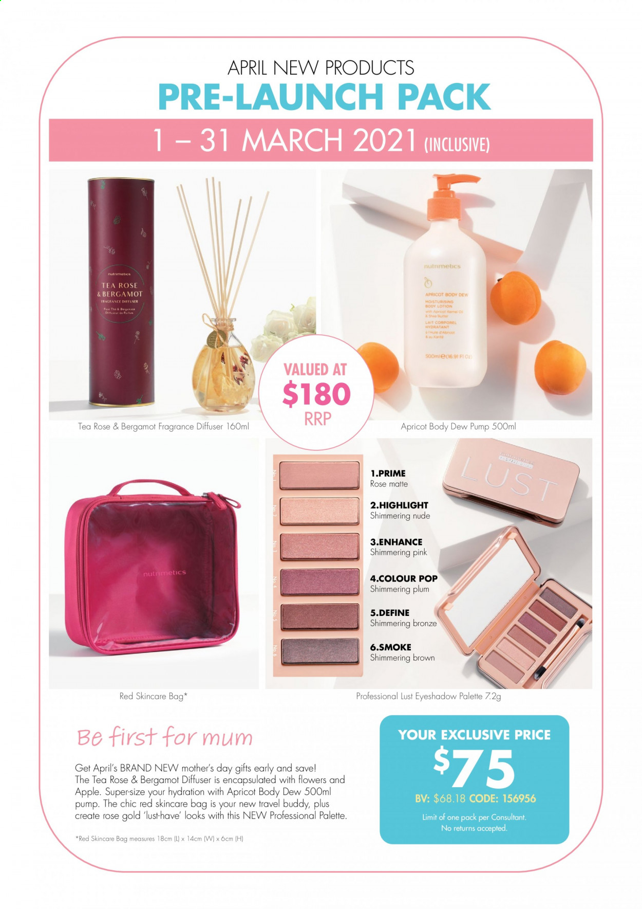 Nutrimetics Catalogue - 1.3.2021 - 31.3.2021 - Sales products - Palette, fragrance, Mum, eyeshadow, pump, bag. Page 1.