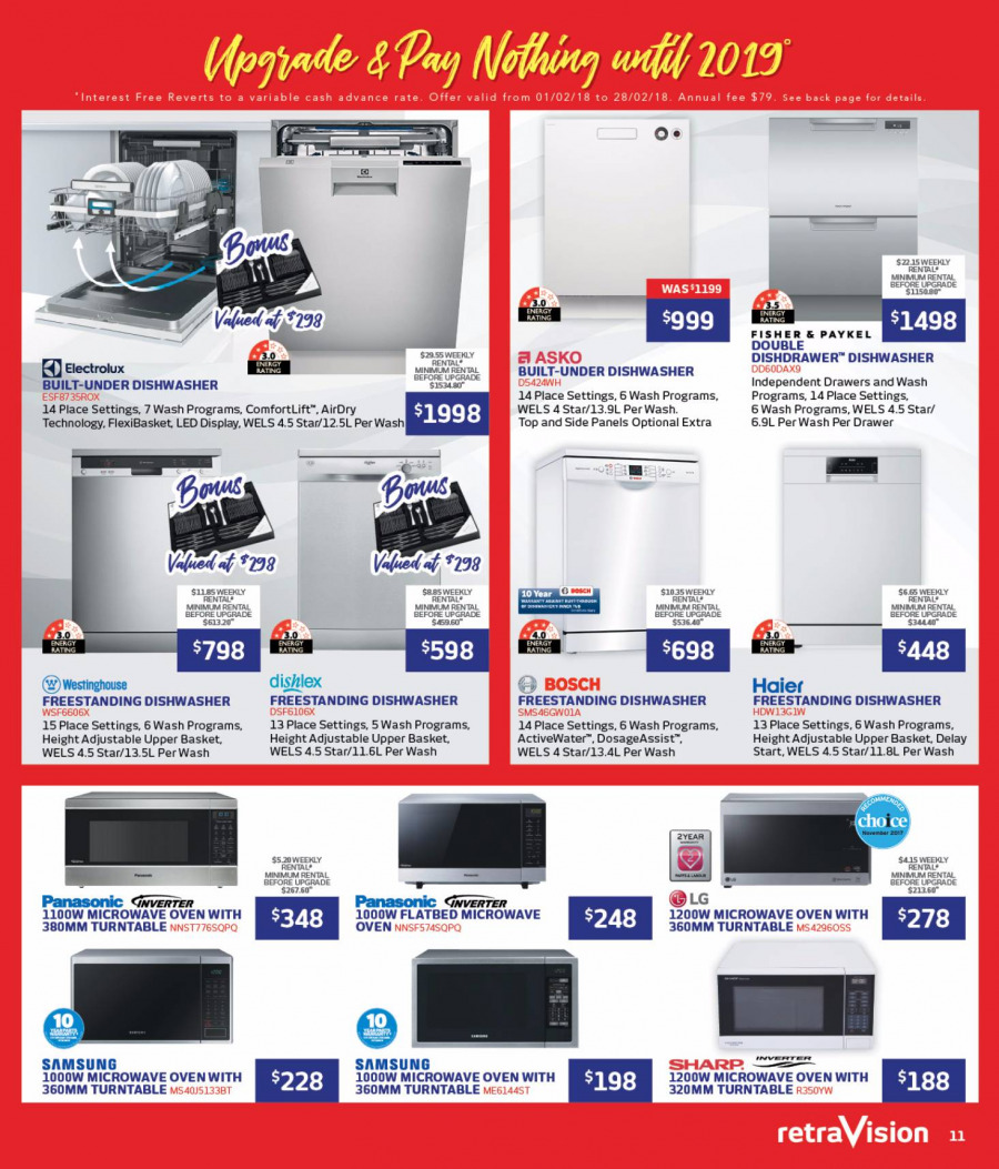 RetraVision Catalogue - 1.2.2018 - 28.2.2018 - Sales products - basket, bosch, dishwasher, drawer, electrolux, lg, microwave, samsung, haier, oven, microwave oven. Page 11.