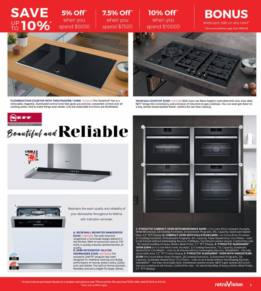RetraVision Catalogue - 1.3.2018 - 31.3.2018 - Sales products - cooktop, dishwasher, knob, microwave, plate, oven, meat. Page 5.