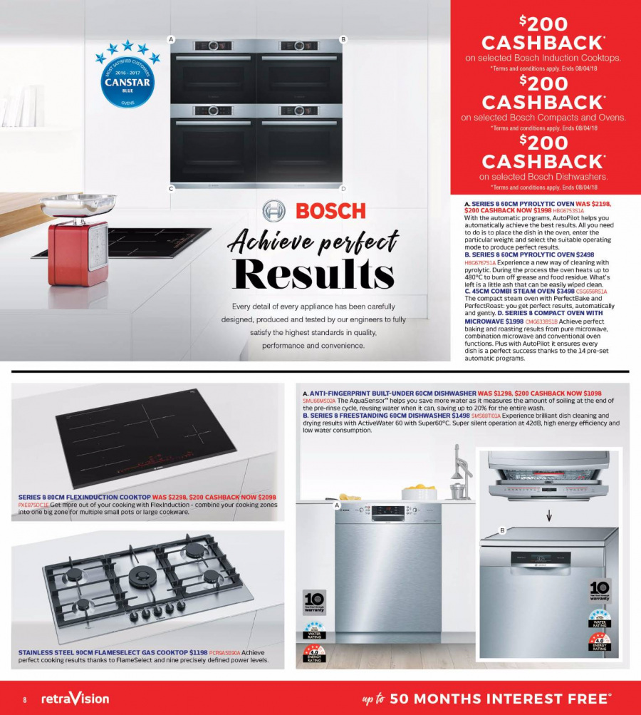 RetraVision Catalogue - 1.3.2018 - 31.3.2018 - Sales products - bosch, cooktop, dishwasher, microwave, stainless steel, oven, dish. Page 8.