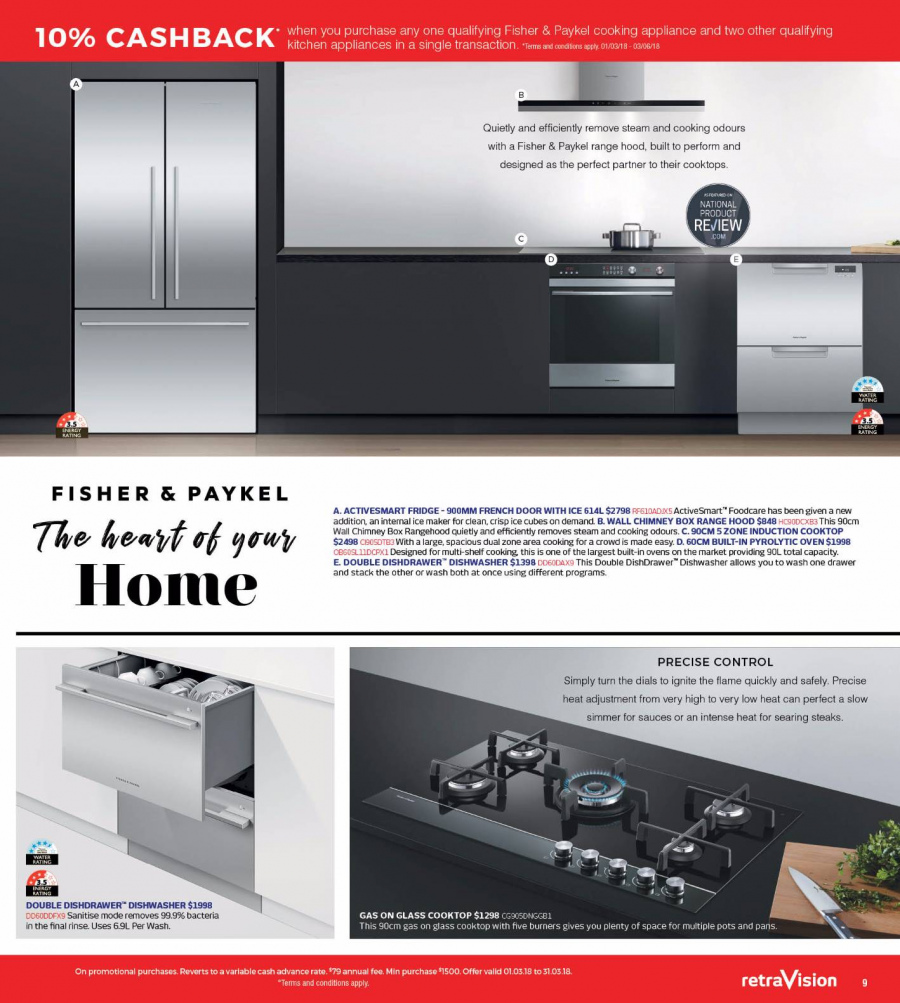RetraVision Catalogue - 1.3.2018 - 31.3.2018 - Sales products - cooktop, dishwasher, drawer, refrigerator, shelf, hoodie, induction cooktop, kitchen, oven, ice maker. Page 9.