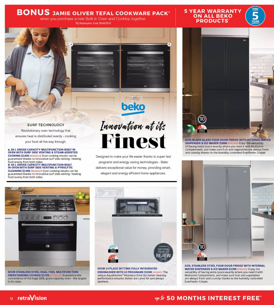 RetraVision Catalogue - 1.3.2018 - 31.3.2018 - Sales products - beko, cooktop, dispenser, fuel, refrigerator, stainless steel, tefal, oven, vegetables, water dispenser, ice maker, fruit. Page 12.