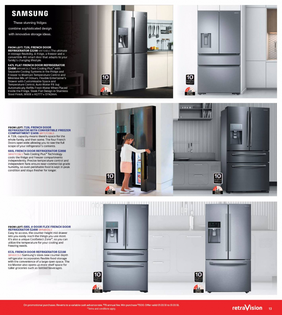 RetraVision Catalogue - 1.3.2018 - 31.3.2018 - Sales products - drawer, freezer, french door refrigerator, refrigerator, samsung, shelf, stainless steel. Page 13.
