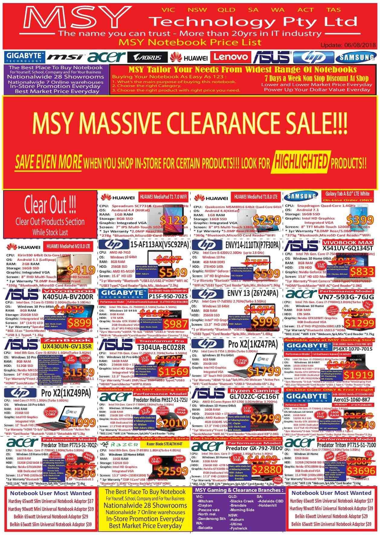 MSY Technology catalogue  - 6.8.2018 - 31.8.2018. Page 1.