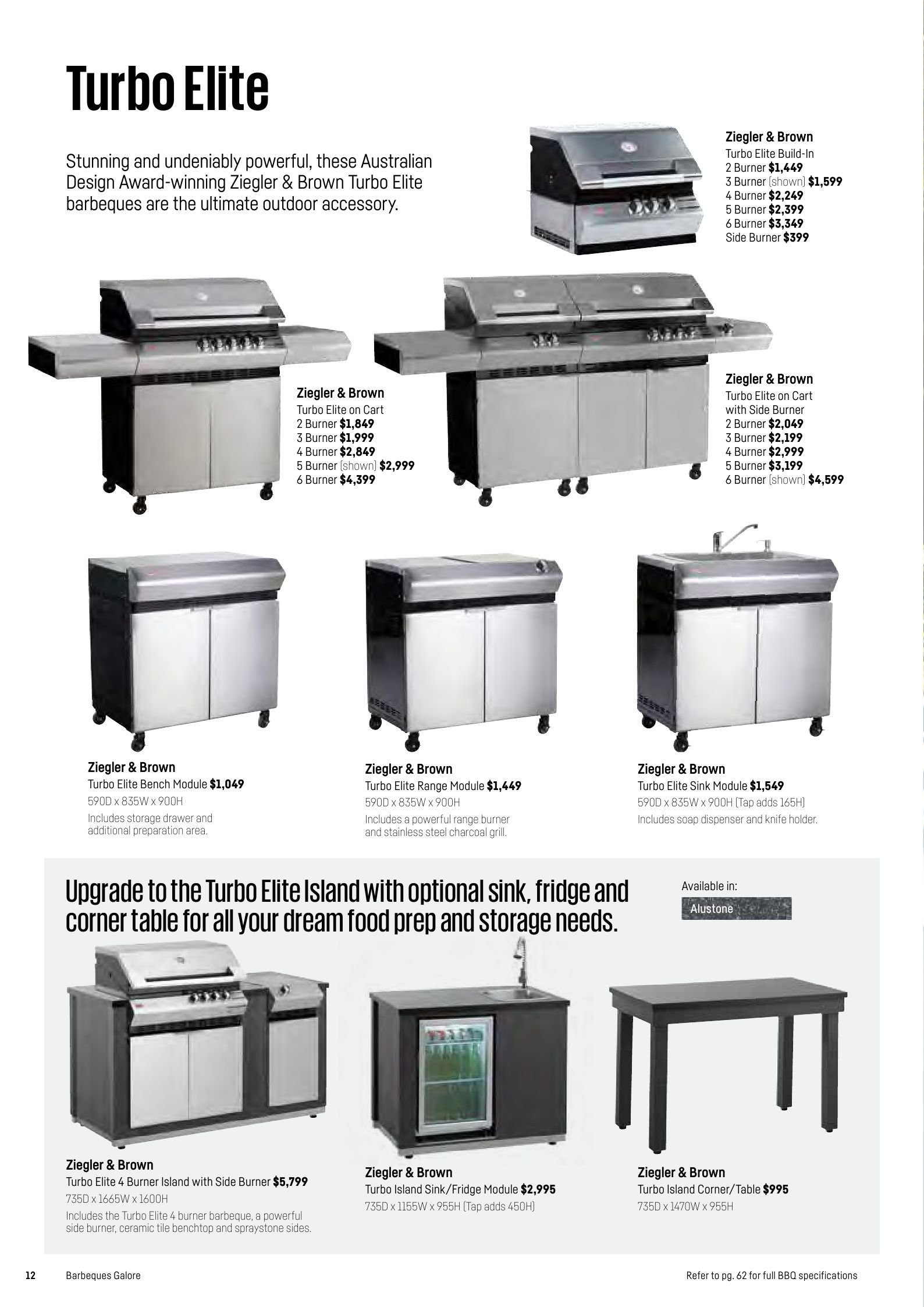 Barbeques galore catalogue sales products bench cart dispenser drawer grill