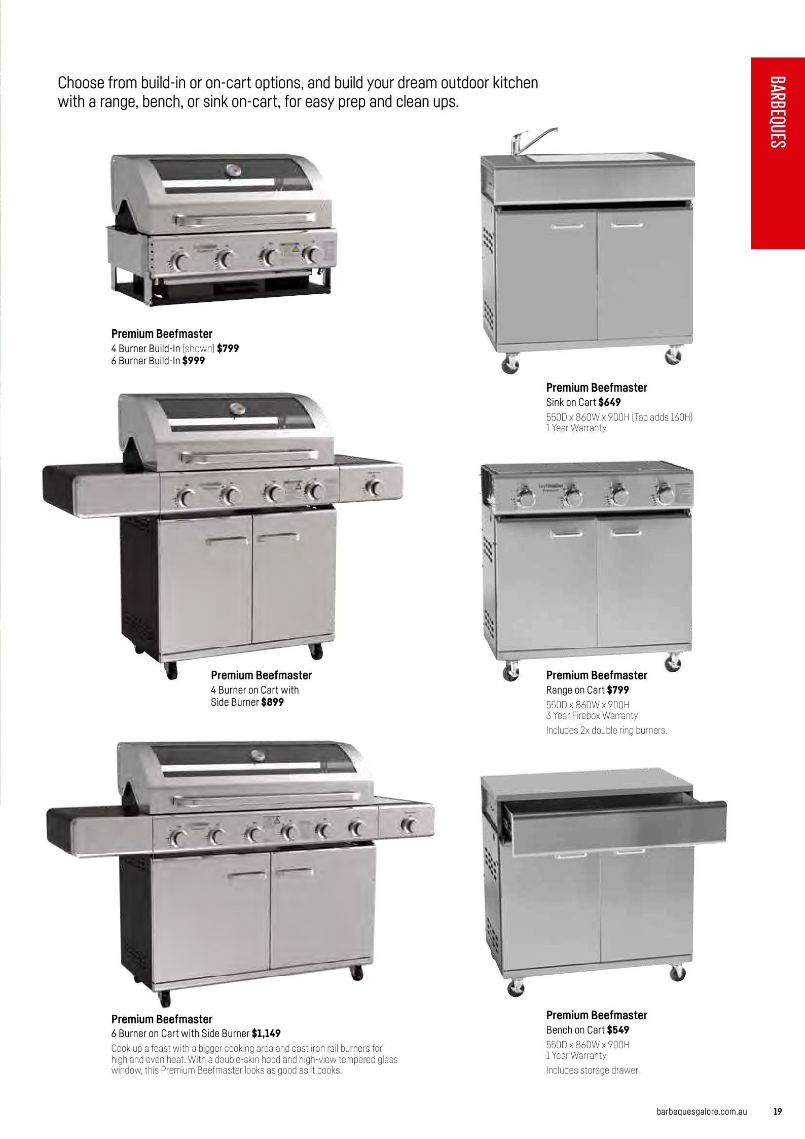 Barbeques galore catalogue sales products bench cart drawer rail ring