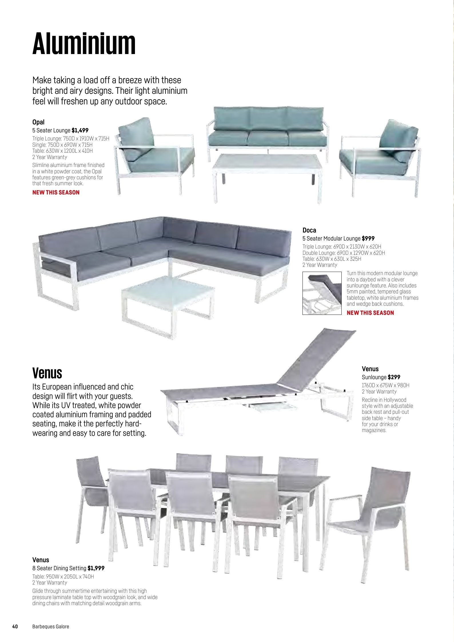 Barbeques galore catalogue sales products coat daybed table venus chair
