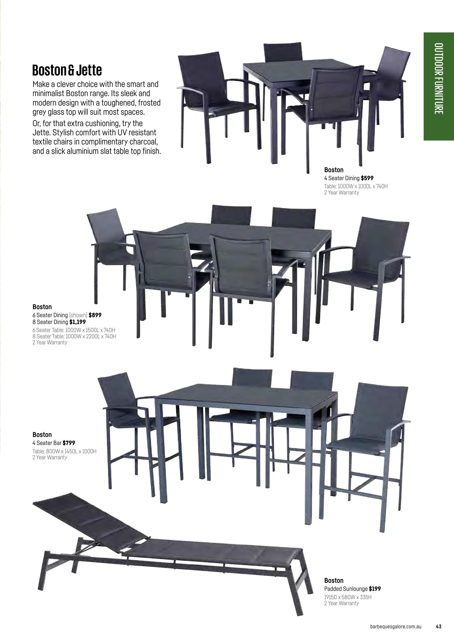 Barbeques galore catalogue sales products table chair charcoal page 45
