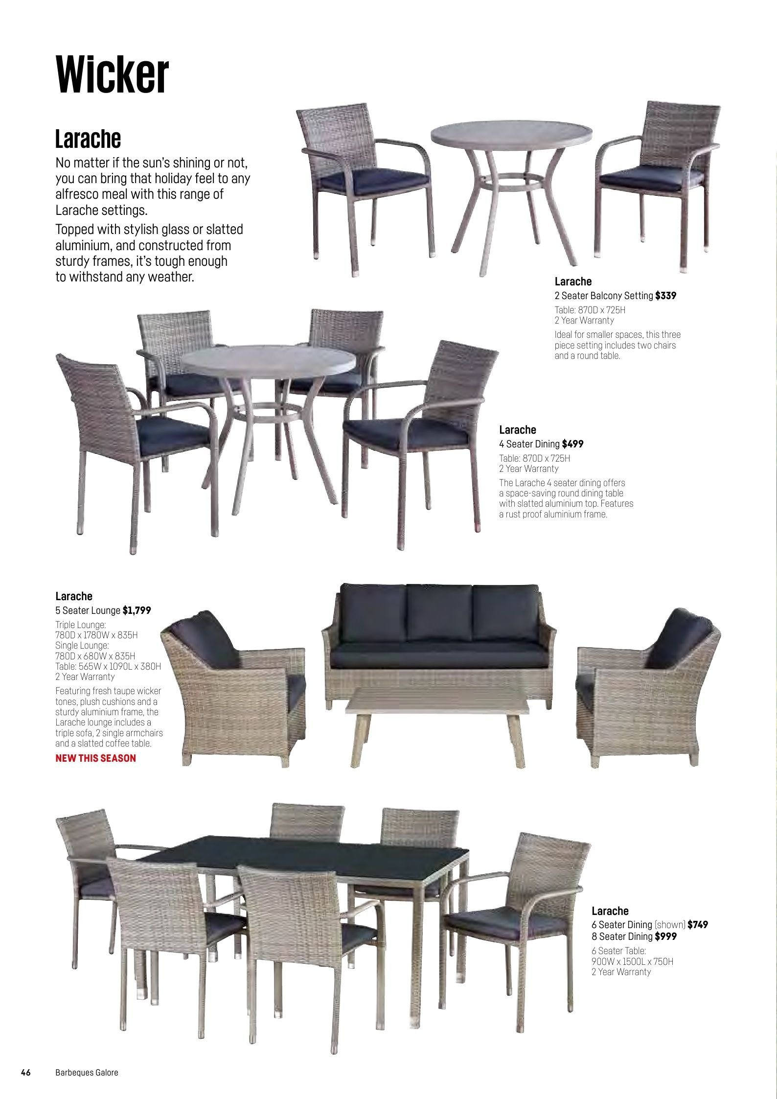 Barbeques galore catalogue sales products coffee coffee table dining table sofa