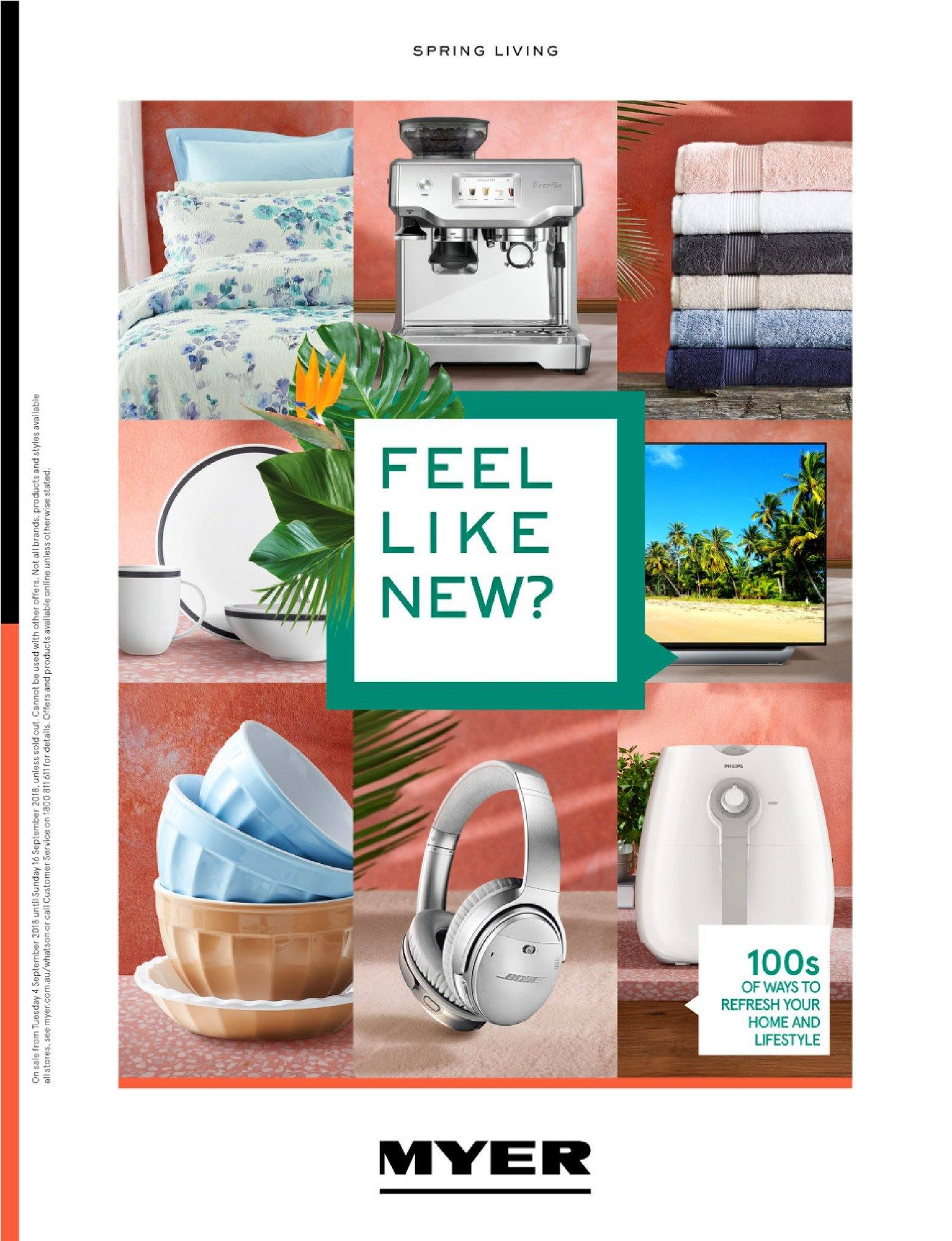 Myer catalogue  - 4.9.2018 - 16.9.2018. Page 1.