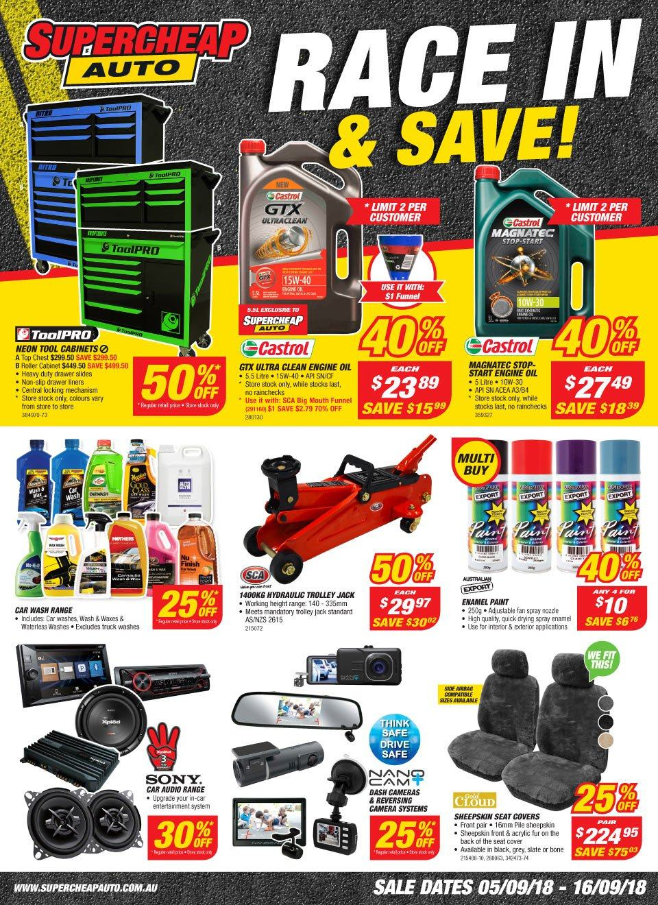 Supercheap Auto catalogue  - 5.9.2018 - 16.9.2018. Page 1.