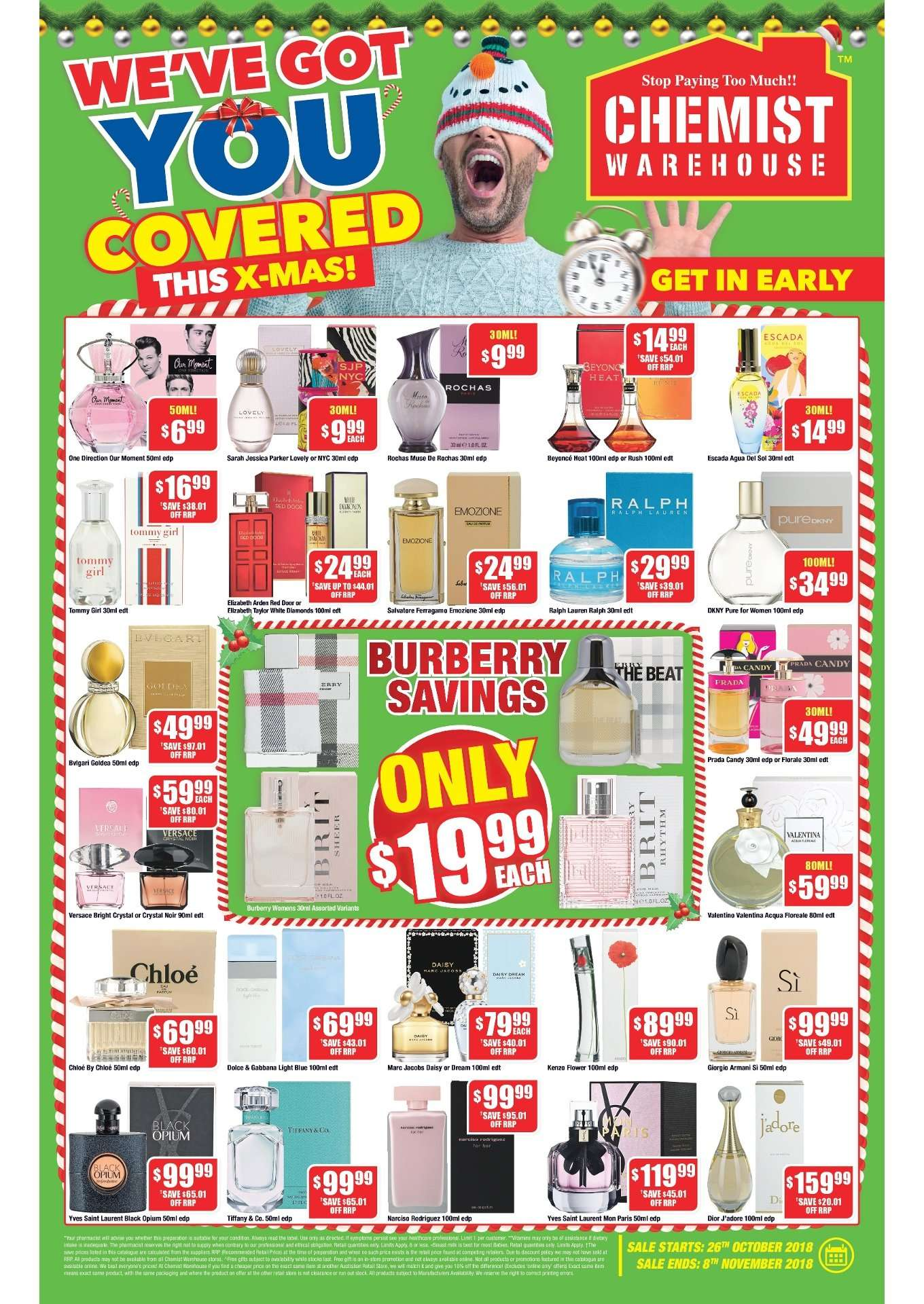 Chemist Warehouse catalogue  - 26.10.2018 - 8.11.2018. Page 1.