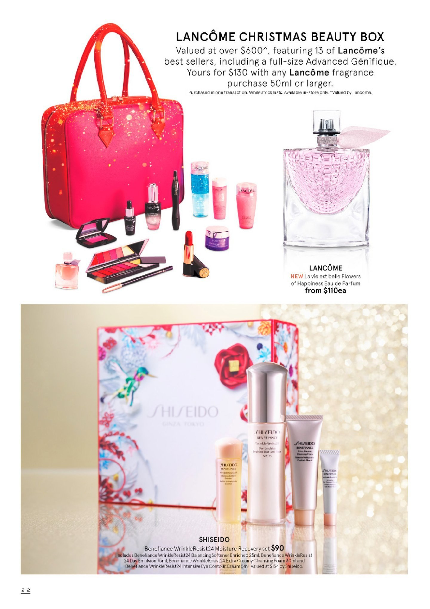 Myer Catalogue - 30.10.2018 - 24.12.2018 - Sales products - beauty box, box, cleansing foam, cream, eau de parfum, foam, fragrance, lancome, moisture. Page 22.