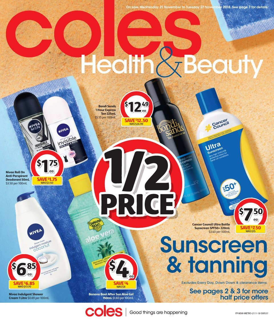 Coles catalogue  - 21.11.2018 - 27.11.2018. Page 1.
