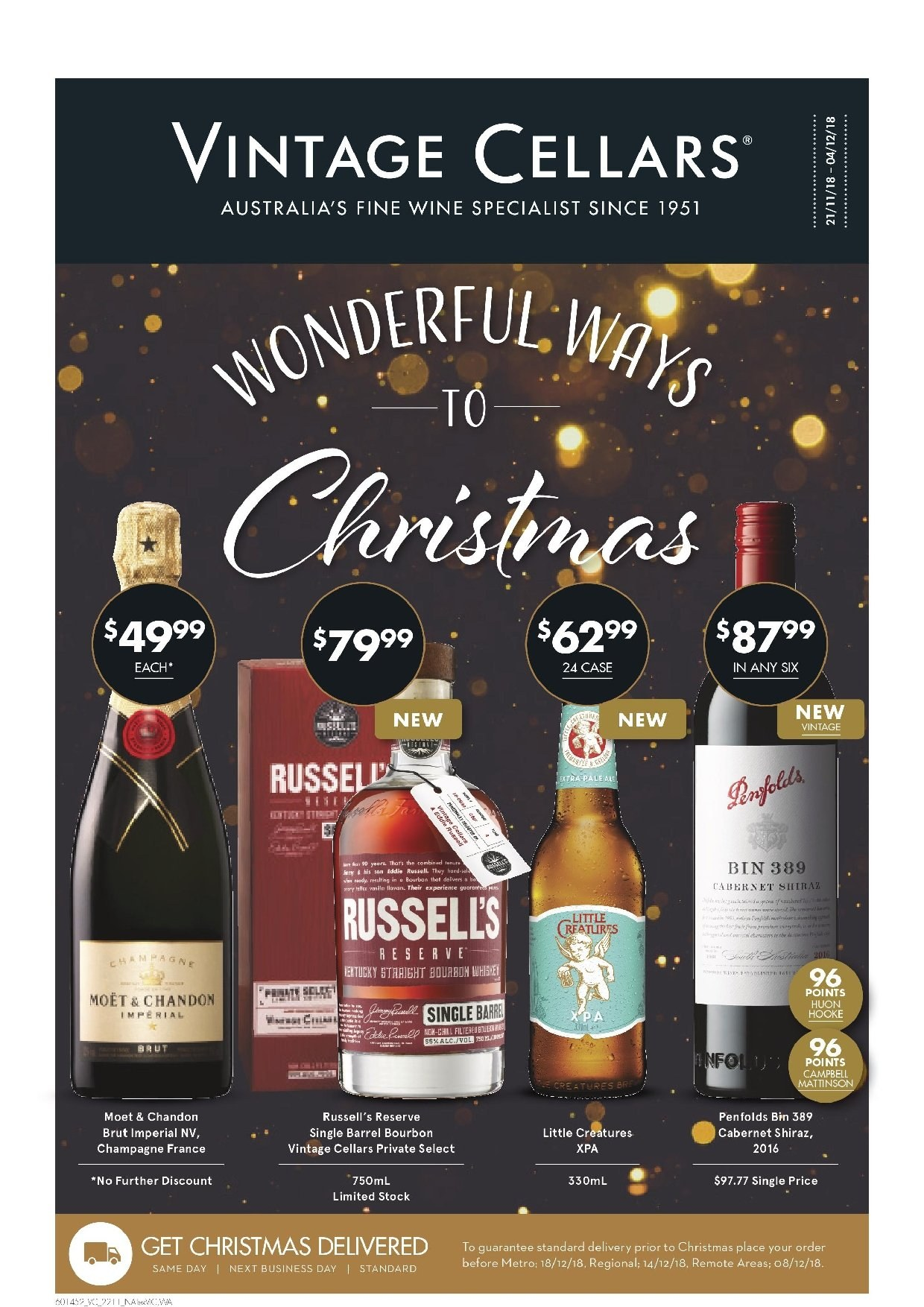 Vintage Cellars Catalogue - 21.11.2018 - 4.12.2018 - Sales products - Cabernet Sauvignon, champagne, wine, Moët & Chandon, Shiraz, bourbon. Page 1.