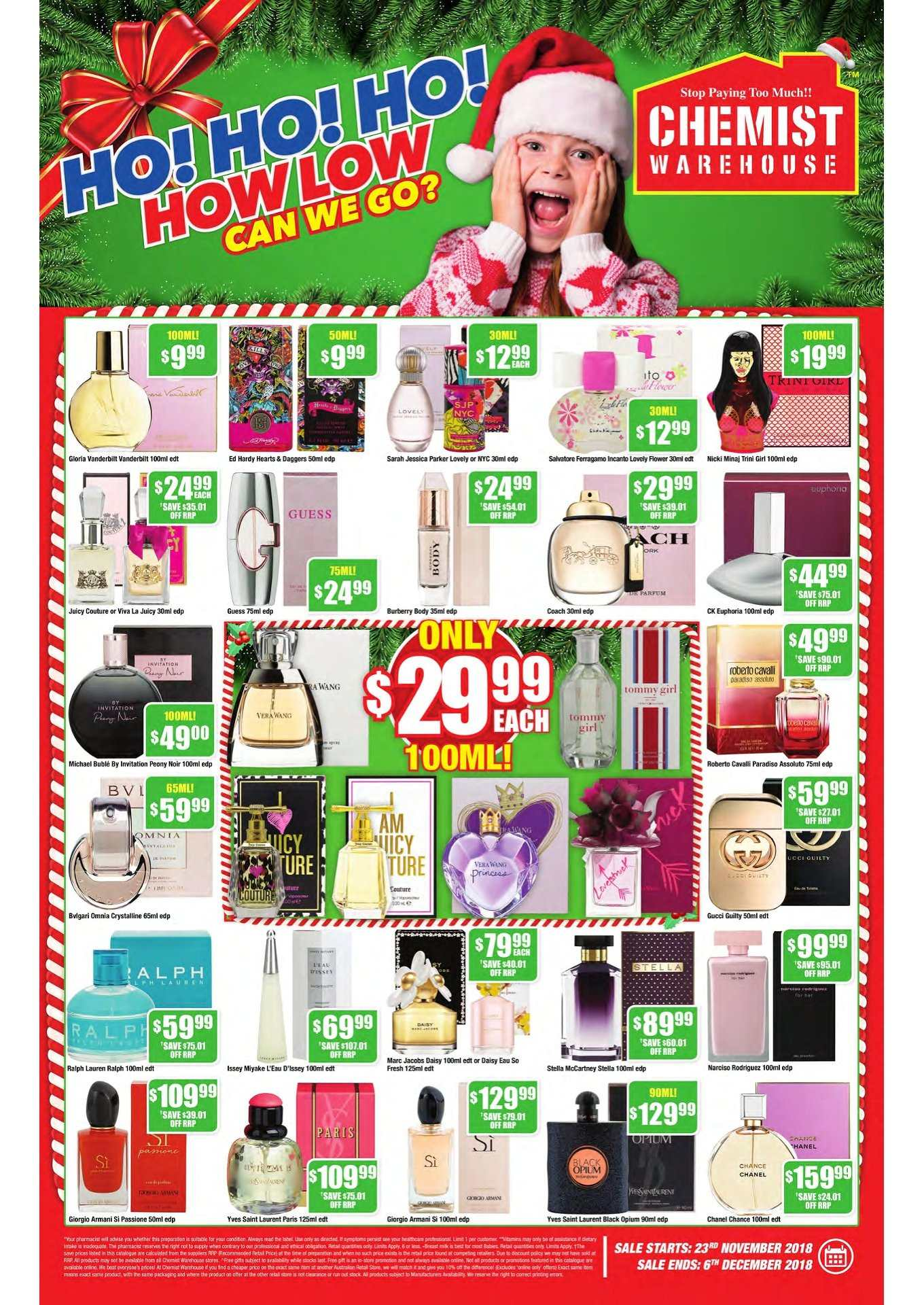 Chemist Warehouse catalogue  - 23.11.2018 - 6.12.2018. Page 1.