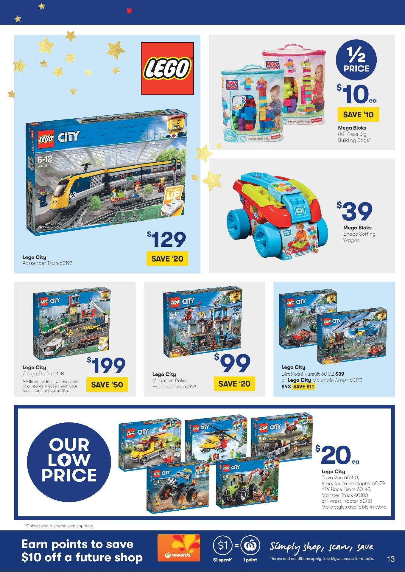BIG W Catalogue - 29.11.2018 - 12.12.2018 - Sales products - bag, lego, lego city, mega bloks, truck, wagon, pizza. Page 13.