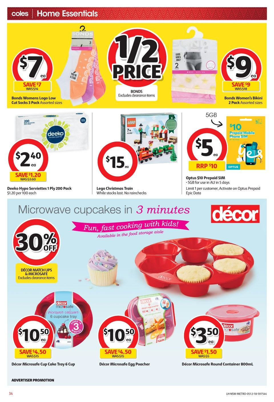 Coles Catalogue - 5.12.2018 - 11.12.2018 - Sales products - bikini, container, cup, cupcake, cupcakes, lego, microwave, socks, storage, tray. Page 34.