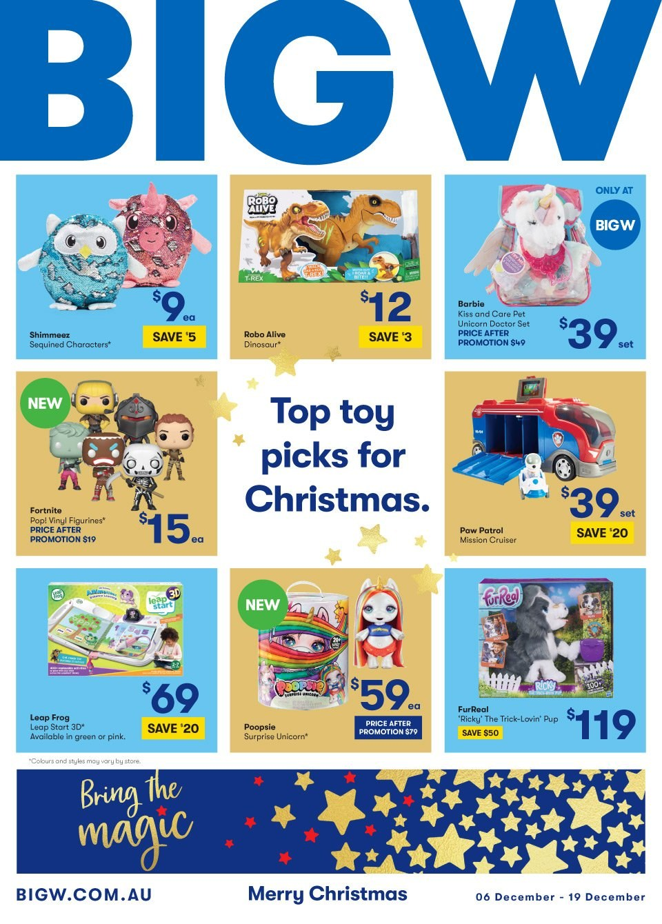 BIG W Catalogue - 6.12.2018 - 19.12.2018 - Sales products - barbie, furreal, top, pet, paw patrol, toys. Page 1.