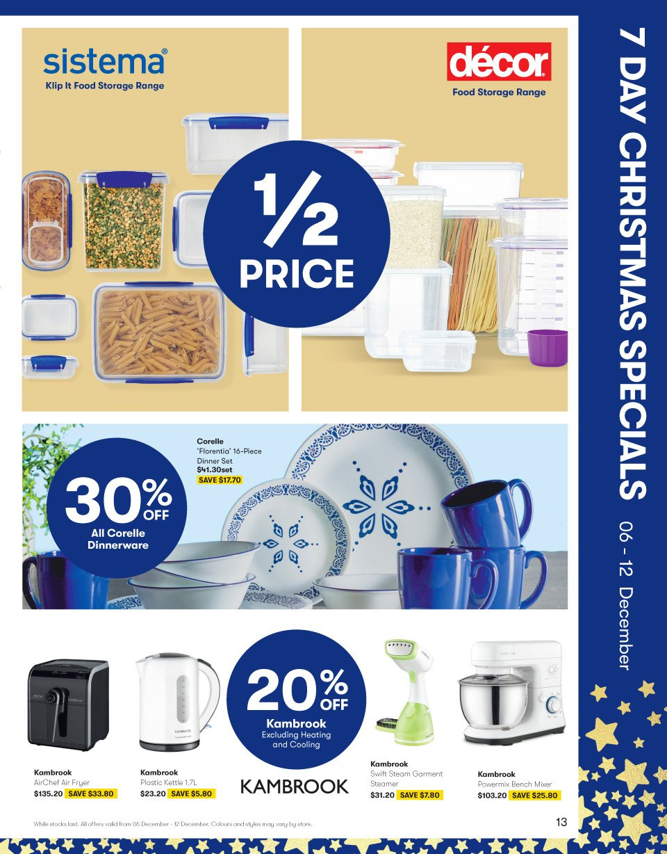 BIG W Catalogue - 6.12.2018 - 19.12.2018 - Sales products - bench, dinnerware set, fryer, mixer, storage, air fryer. Page 13.