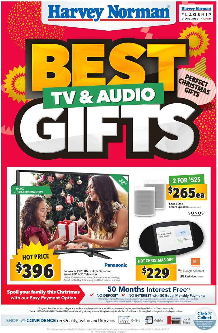 Harvey Norman Catalogue - 7.12.2018 - 24.12.2018 - Sales products - google, sonos, speaker, panasonic. Page 1.