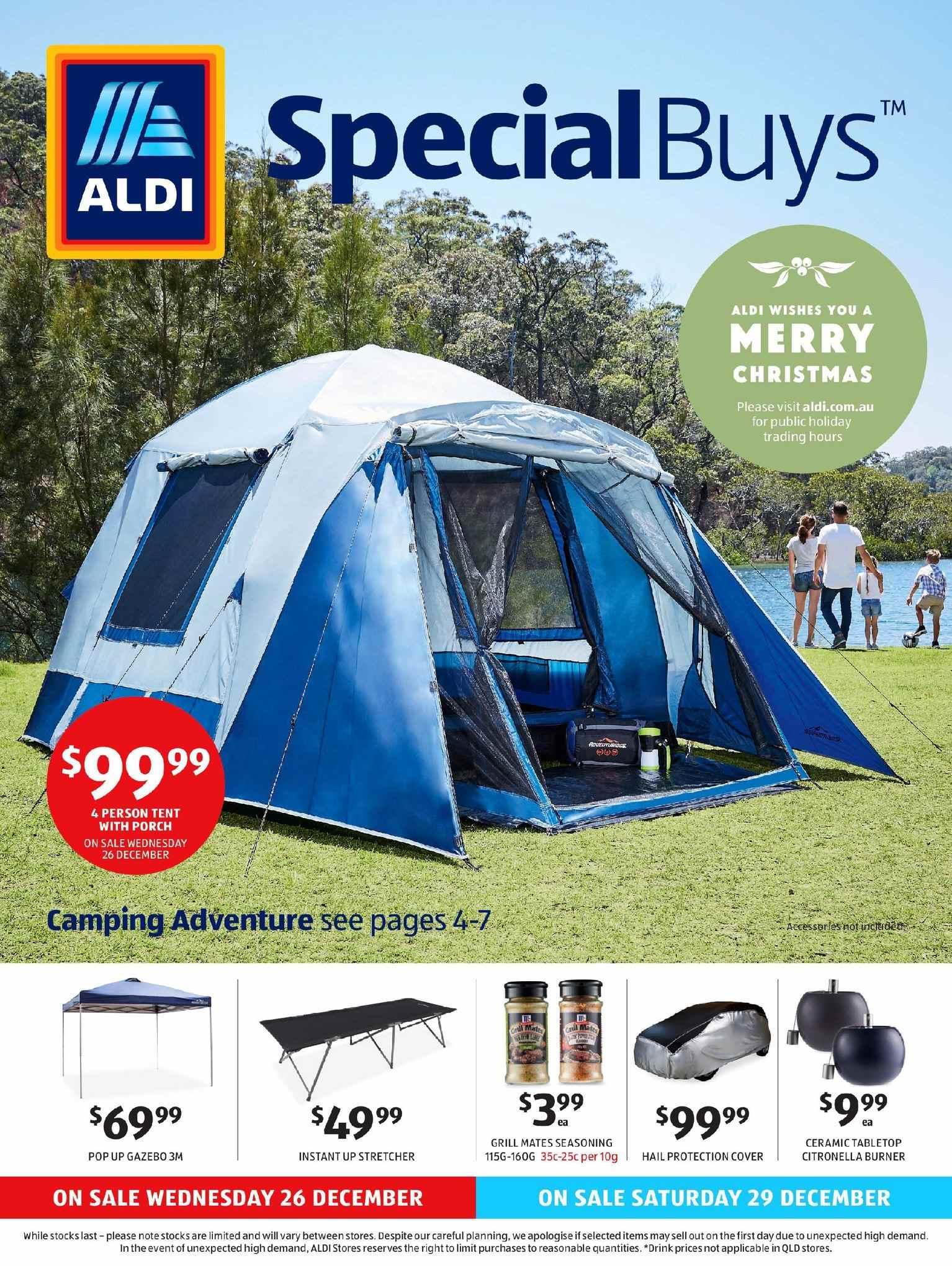 ALDI Catalogue - 26.12.2018 - 31.12.2018 - Sales products - cover, grill, tent, christmas. Page 1.