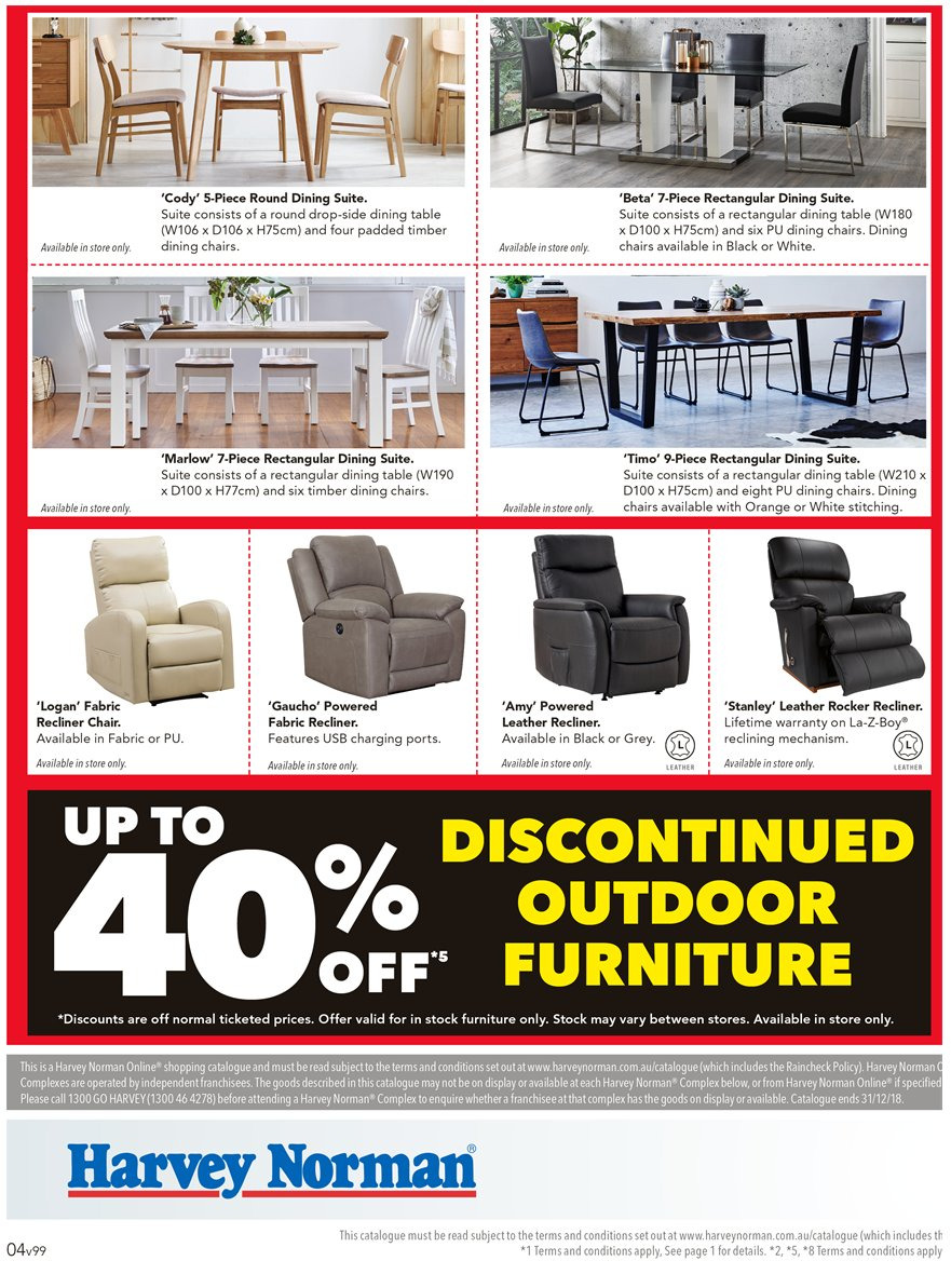 Harvey norman catalogue 24 12 2018 31 12 2018 sales products dining