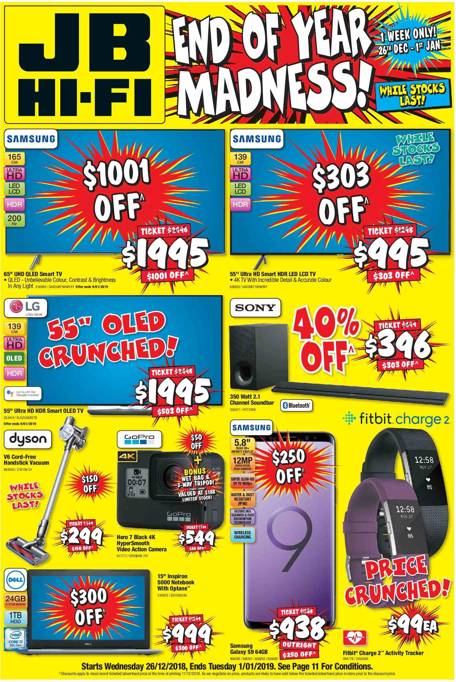 JB Hi-Fi Catalogue - 26.12.2018 - 1.1.2019 - Sales products - action camera, activity tracker, bluetooth, camera, fitbit, galaxy, google, gopro, lg, samsung, sony, soundbar, tripod, uhd tv, ultra hd, vacuum, hdd, channel, notebook, water, wireless, dyson. Page 1.