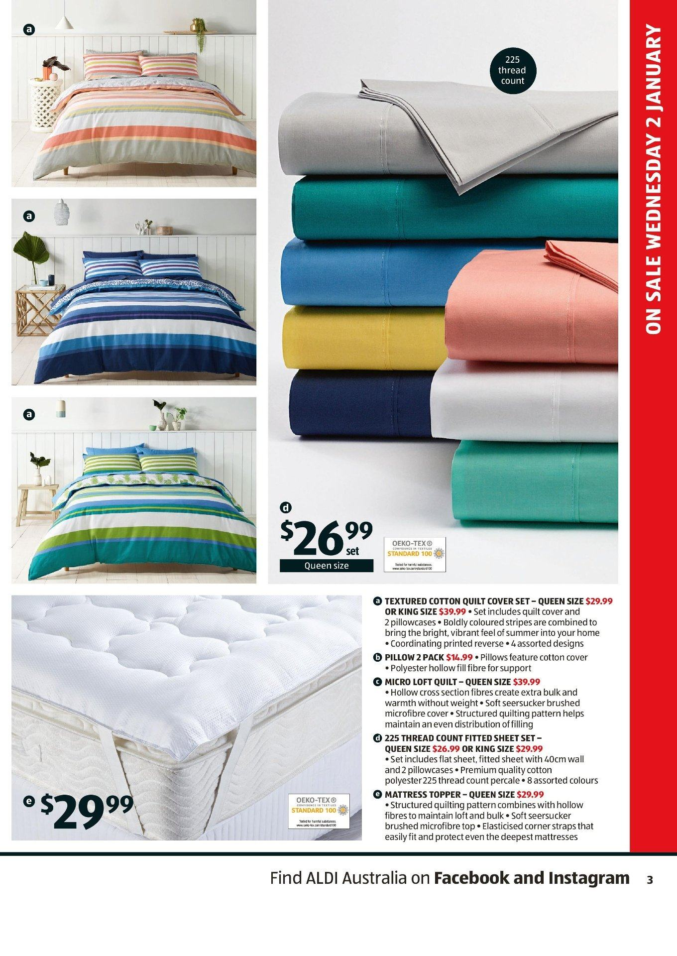 ALDI Catalogue - 2.1.2019 - 8.1.2019 - Sales products - cotton, cover, mattress, sheet, sheet set, top, topper, pillow, pillowcases, quilt, microfibre cover. Page 3.