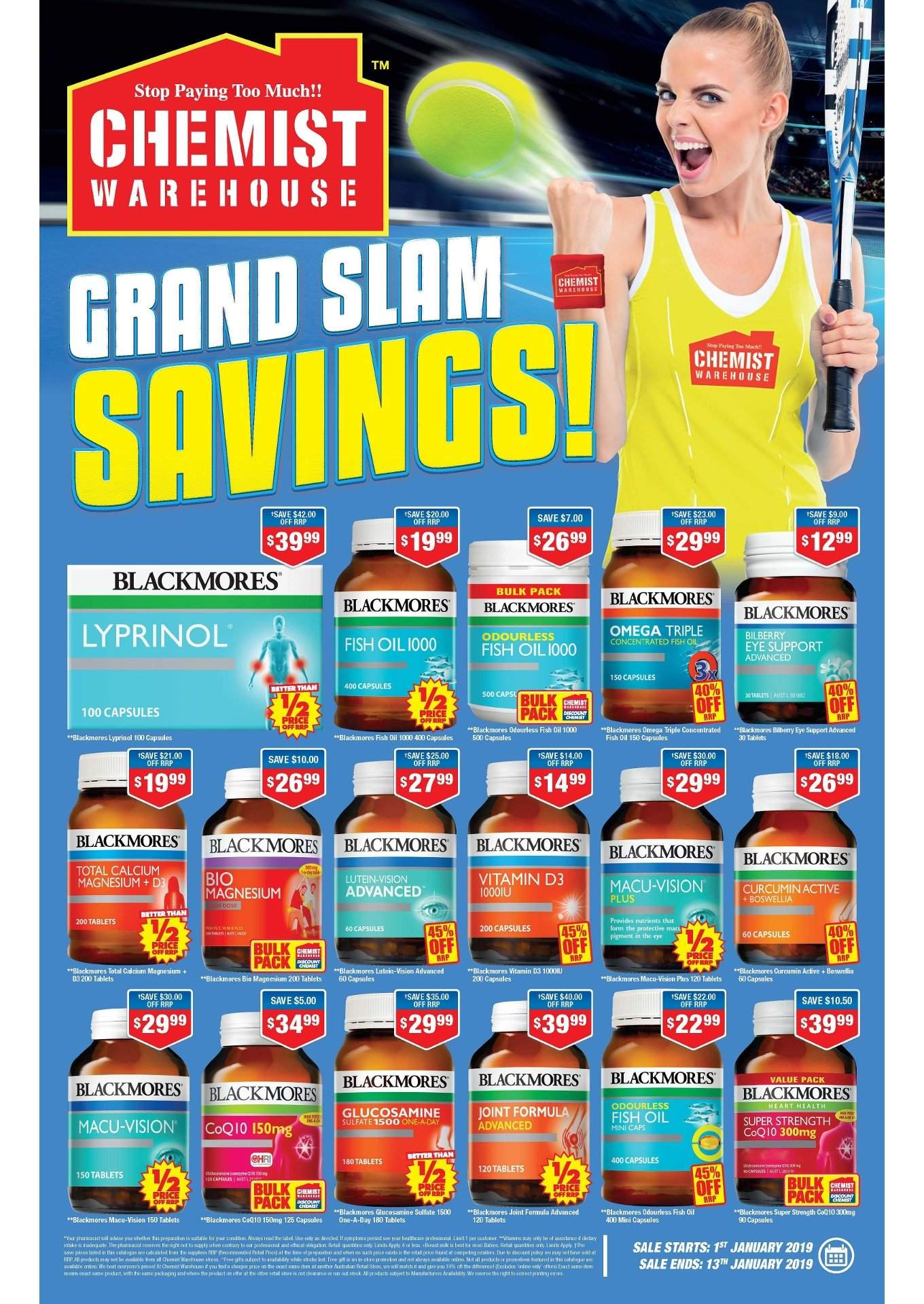 Chemist Warehouse Catalogue - 1.1.2019 - 13.1.2019 - Sales products - calcium, capsules, d3, fish oil, glucosamine, grand, magnesium. Page 1.
