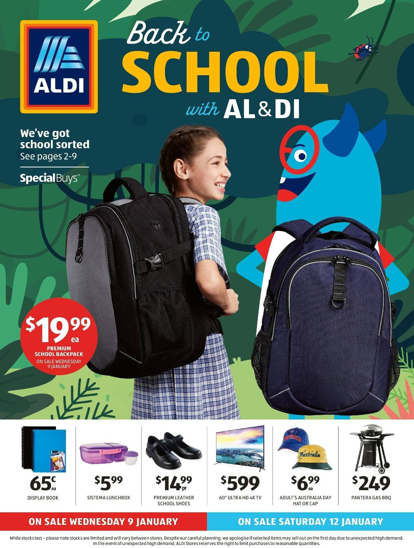 ALDI Catalogue - 9.1.2019 - 15.1.2019 - Sales products - backpack, cap, uhd tv, ultra hd, hat, barbecue, book. Page 1.