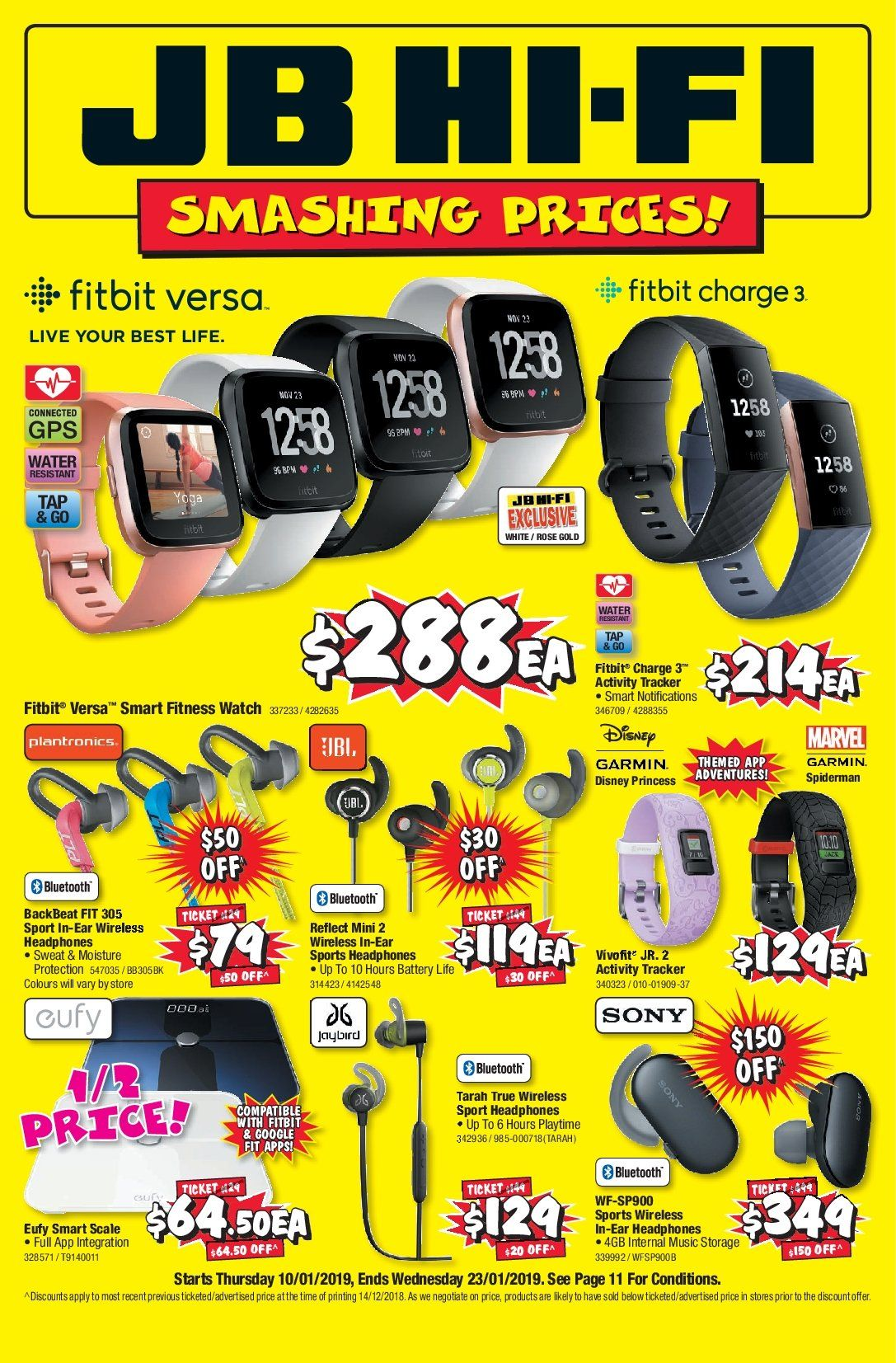 JB Hi-Fi Catalogue - 10.1.2019 - 23.1.2019 - Sales products - activity tracker, bluetooth, disney, fitbit, garmin, google, gps, moisture, sony, storage, watch, jaybird, plantronics, water resistant, headphones, wireless, scale. Page 1.