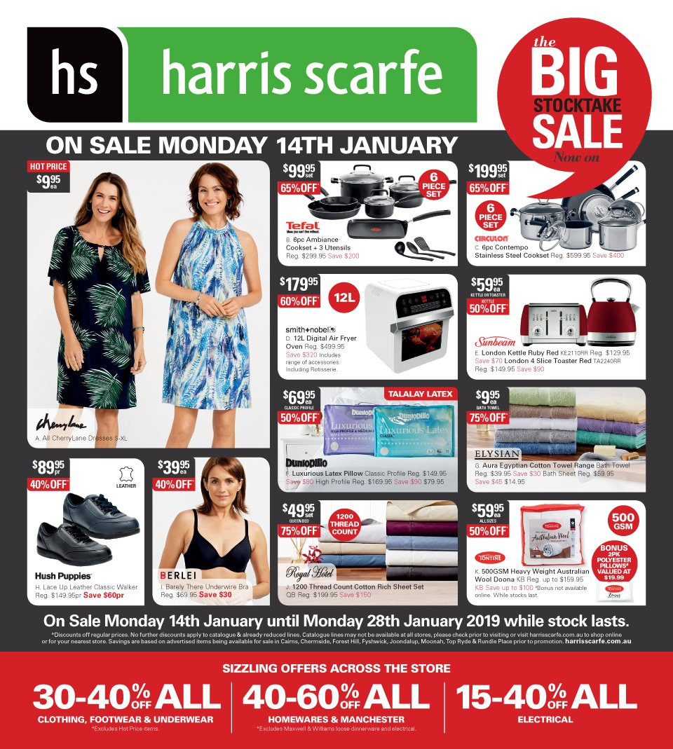 Harris Scarfe Catalogue - 14.1.2019 - 28.1.2019 - Sales products - bath, bath sheet, bath towel, bra, cotton, fryer, sheet, sheet set, stainless, tefal, top, towel, underwear, utensils, pillow, oven, air fryer, footwear, manchester, toaster, wool. Page 1.