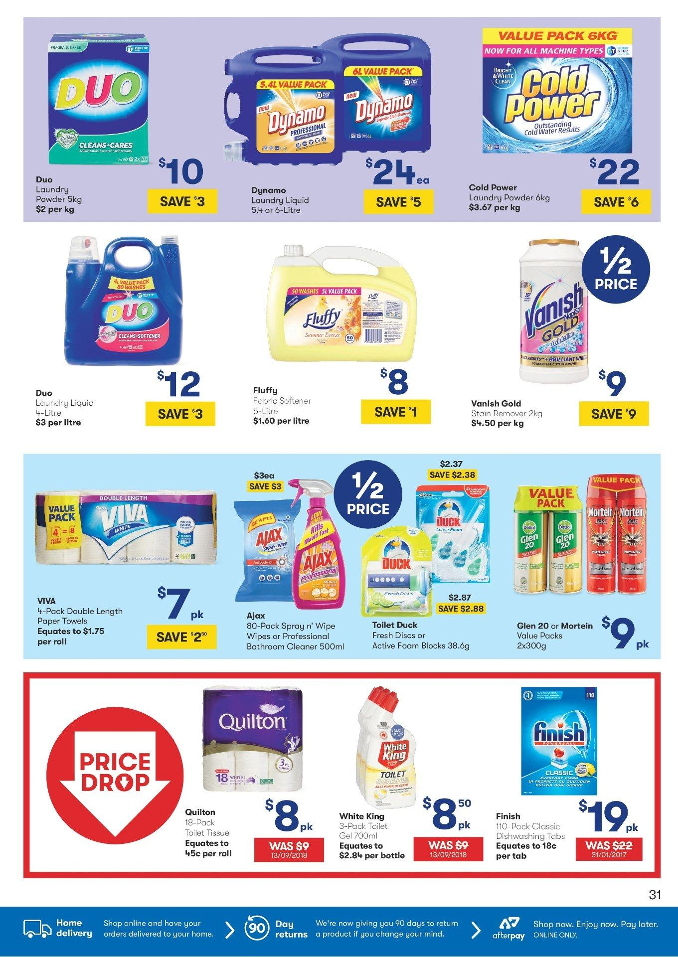 BIG W Catalogue - 31.1.2019 - 13.2.2019 - Sales products - bathroom, bottle, duck, foam, spray, toilet, towel, wipes, powder, paper towel, water, paper, softener, glen, toilet tissue. Page 31.