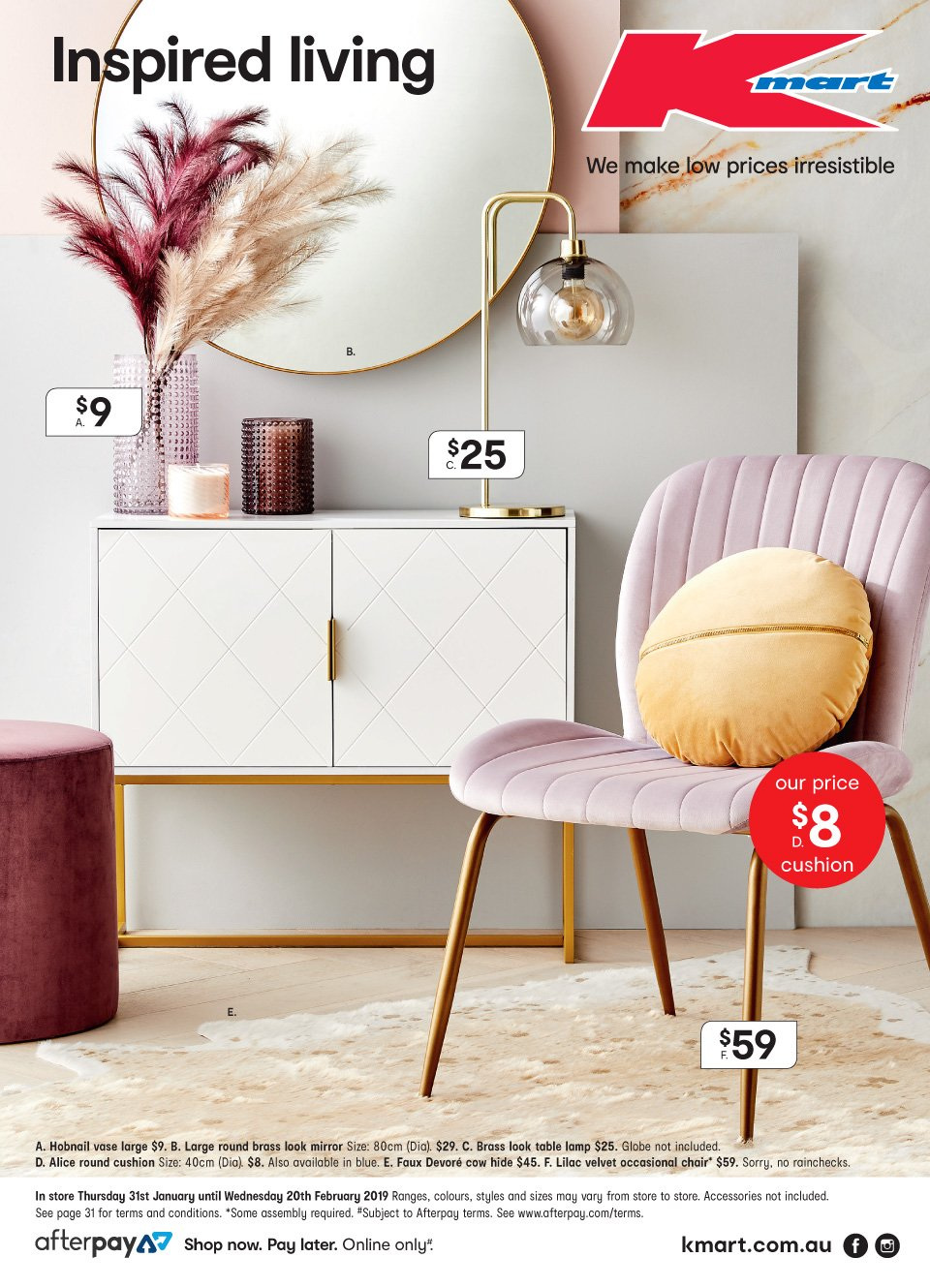 Kmart Catalogue - 31.1.2019 - 20.2.2019 - Sales products - accessories, cushion, lamp, mirror, table, chair. Page 1.