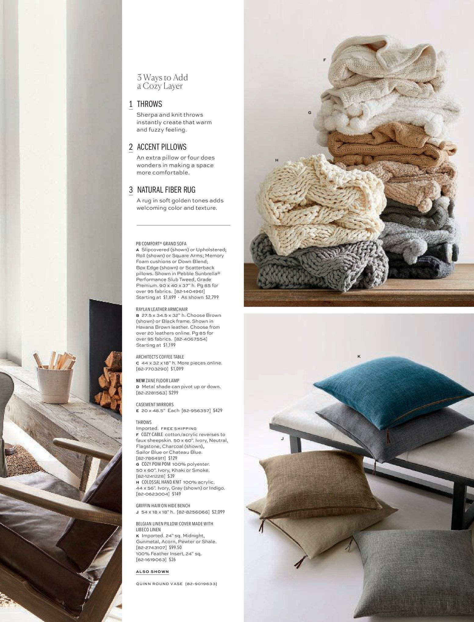 Pottery Barn Catalogue - 1.2.2019 - 28.2.2019 - Sales products - arm chair, bench, box, coffee, coffee table, cover, foam, frame, grand, rug, sherpa, sofa, table, throw, pillow, pillow cover. Page 11.