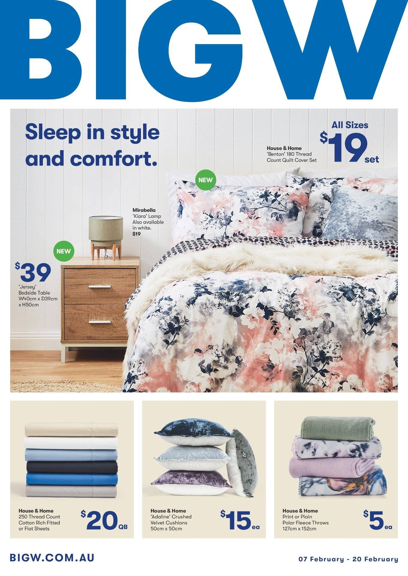 BIG W Catalogue - 7.2.2019 - 20.2.2019 - Sales products - bedside table, cover, d3, lamp, table, throw, quilt. Page 1.