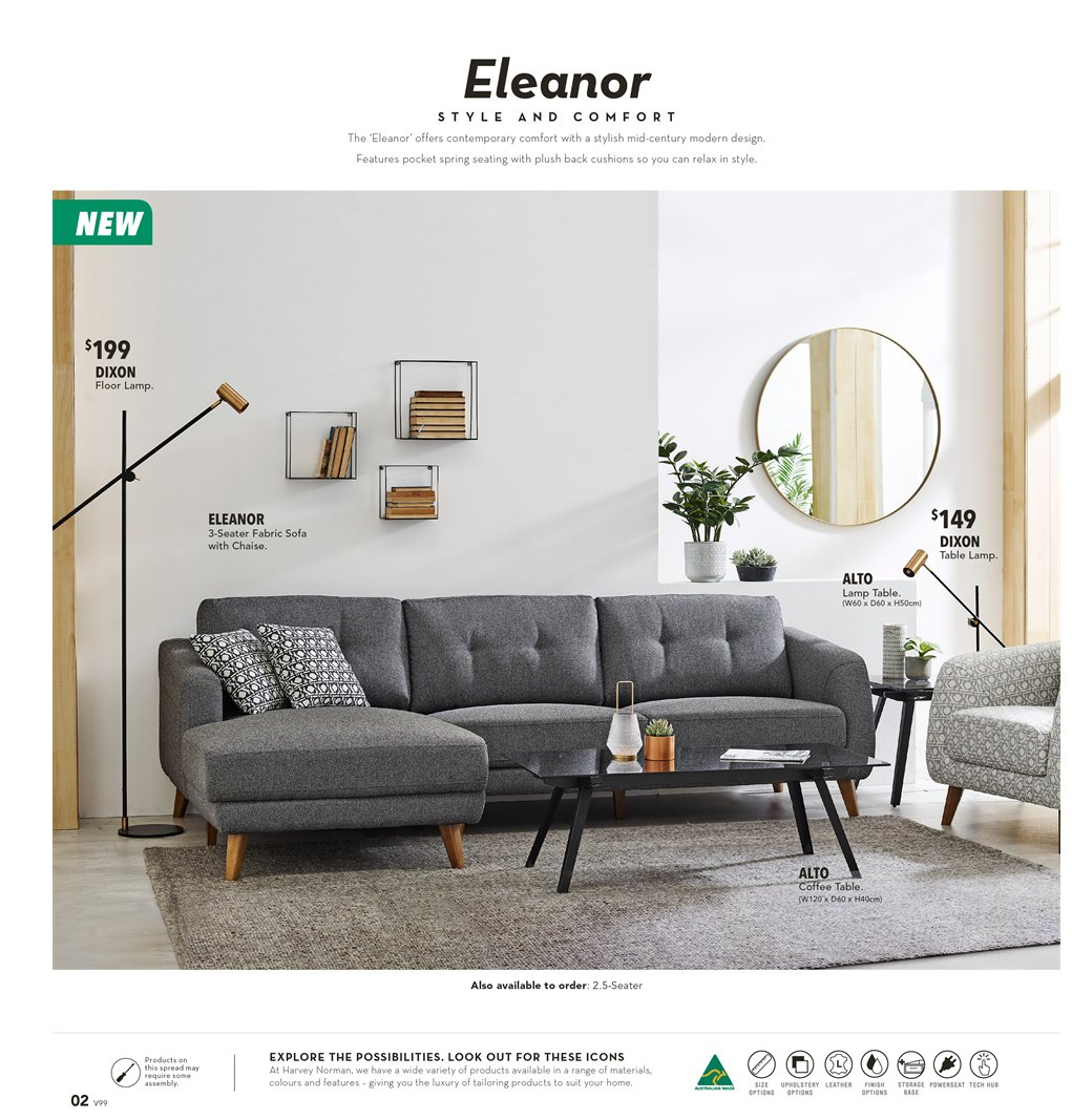 Harvey Norman Catalogue - 8.2.2019 - 3.3.2019 - Sales products - coffee, coffee table, lamp, sofa, storage, suit, table, chaise. Page 2.