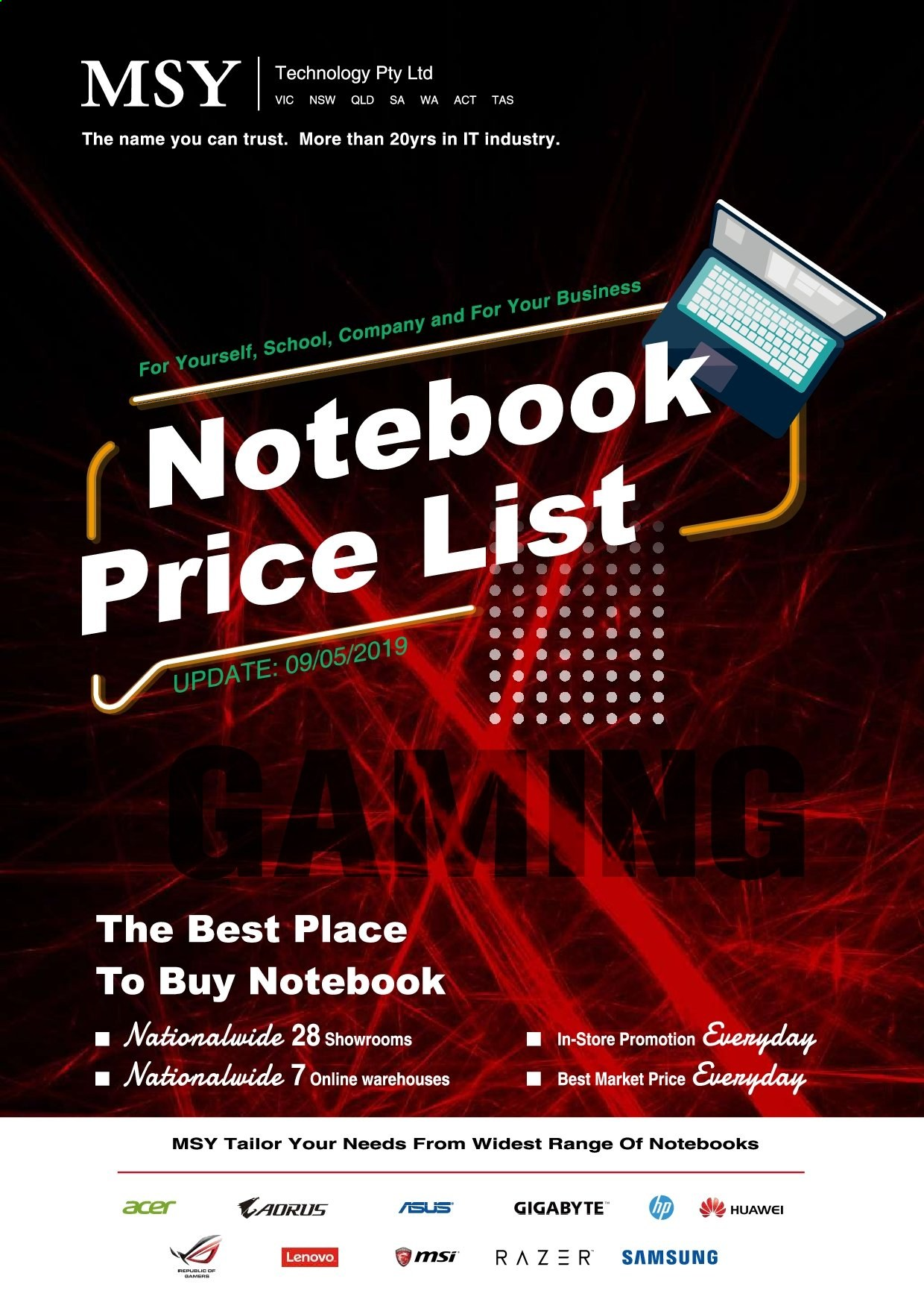 MSY Technology Catalogue - Sales products - Razer, Trust, Acer, Lenovo, Samsung, notebook. Page 1.