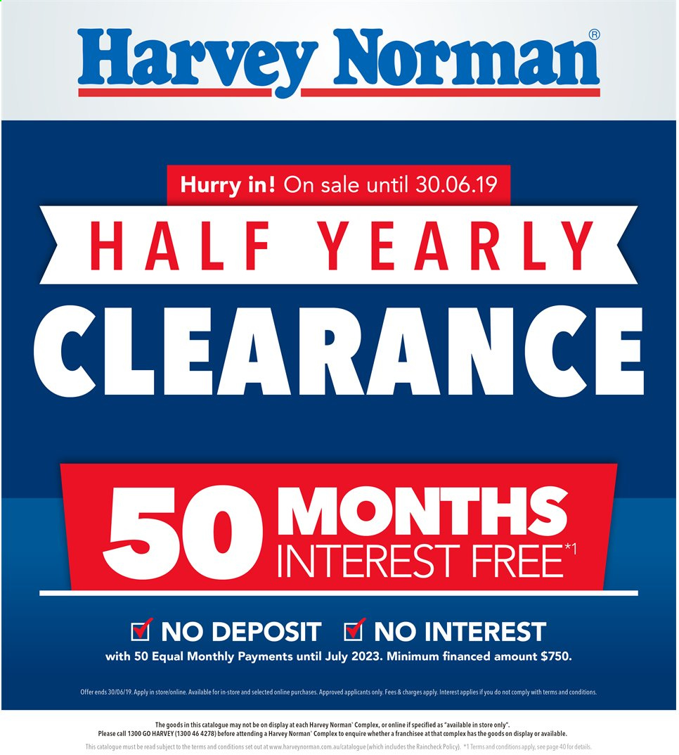 Harvey Norman catalogue  - 30.5.2019 - 30.6.2019. Page 1.