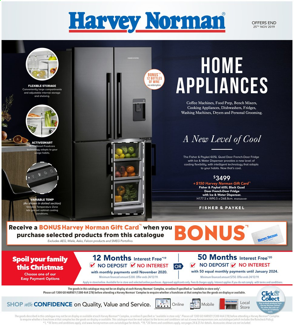 Harvey Norman Catalogue - 8.11.2019 - 25.11.2019 - Sales products - aeg, bench, coffee, dispenser, refrigerator, gift card, wine, coffee machine, water dispenser. Page 1.