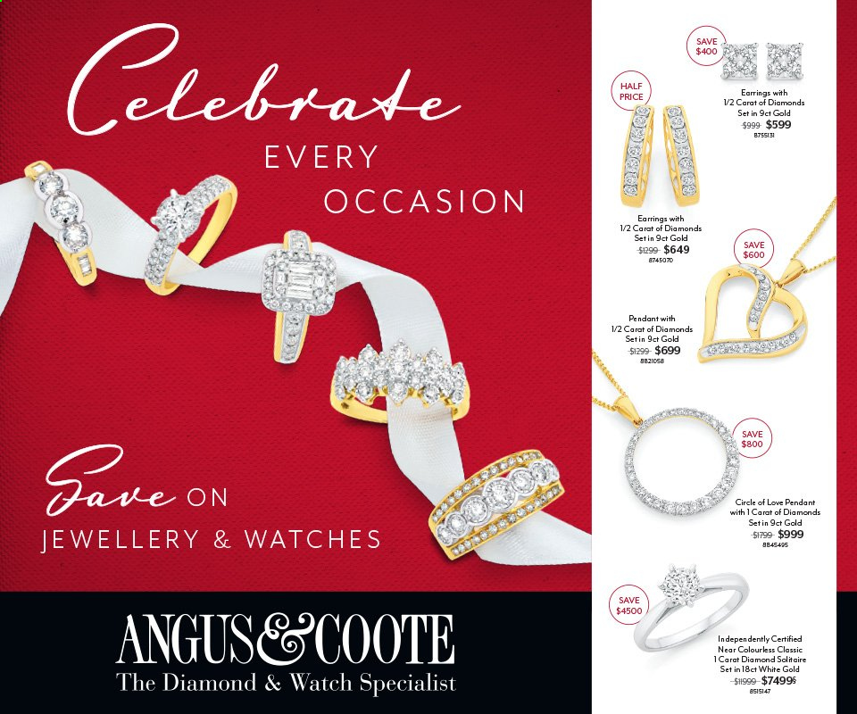 Angus & Coote Catalogue - 16.3.2020 - 12.4.2020 - Sales products - watch, pendant, earrings. Page 1.