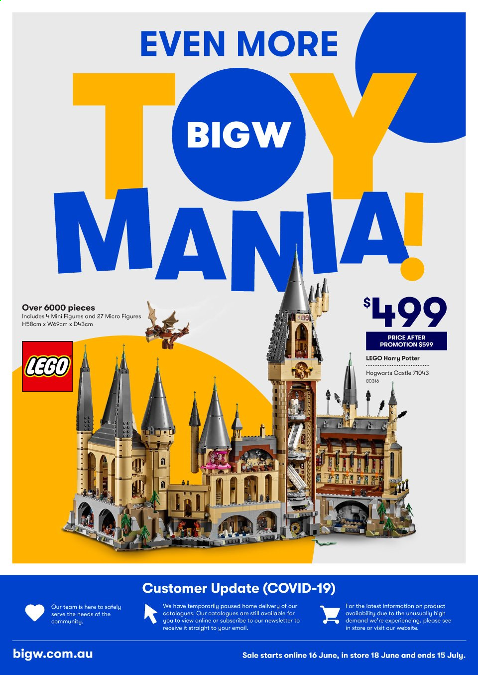 BIG W Catalogue - 16.6.2020 - 15.7.2020 - Sales products - lego, lego harry potter, minifigure. Page 1.
