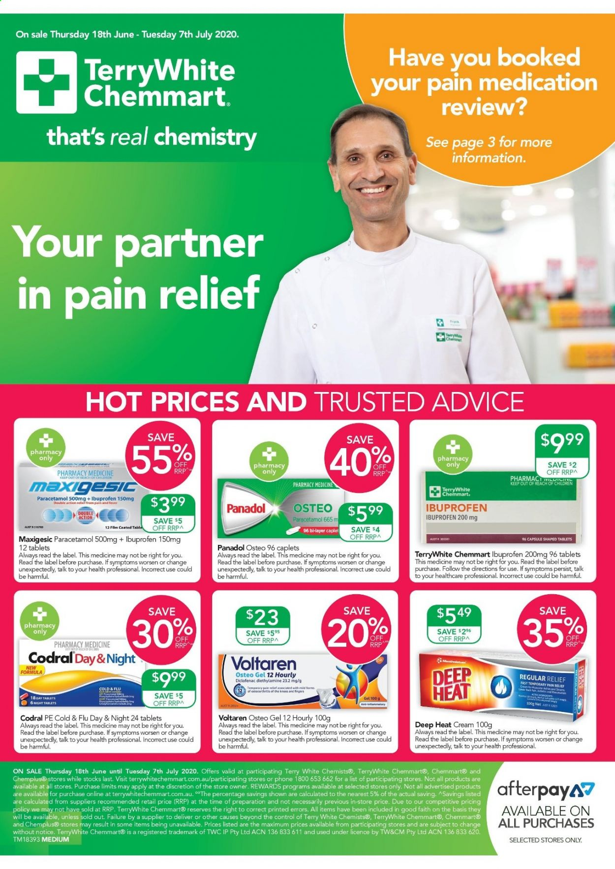 TerryWhite Chemmart Catalogue - 18.6.2020 - 7.7.2020 - Sales products - Cars, Pain Relief, Cold & Flu, Codral, Ibuprofen, phone. Page 1.